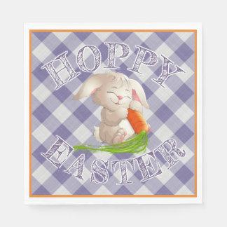 Guardanapo De Papel Teste padrão violeta Hoppy do guingão do coelho de