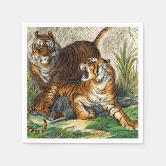 Guardanapo De Papel Tigre feroz listrado asiático do vintage