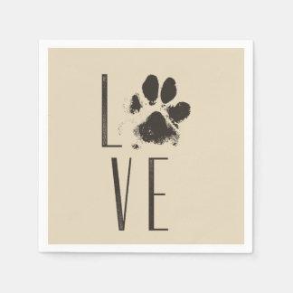 Guardanapo De Papel Tipografia do amor do impressão da pata do animal