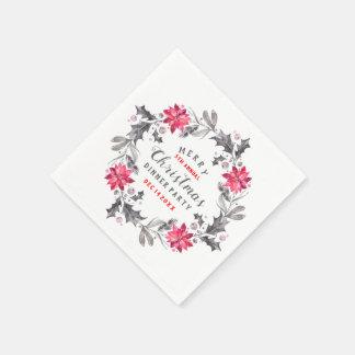 Guardanapo De Papel Tipografia do Natal da grinalda das flores do