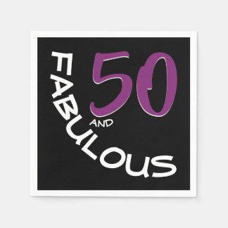 Guardanapo De Papel Tipografia roxa & branca 50 e aniversário fabuloso
