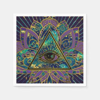 Guardanapo De Papel Todo o olho místico de vista na flor de Lotus