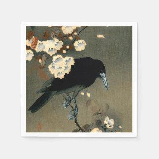 Guardanapo De Papel Um corvo e uma flor pelo vintage de Ohara Koson