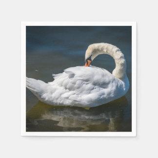 Guardanapo De Papel Uma cisne branca bonita