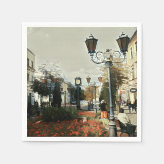 Guardanapo de papel urbano de pintura de paisagem