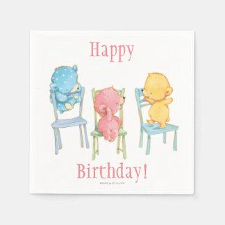 Guardanapo De Papel Ursos amarelos, cor-de-rosa, e do azul em cadeiras
