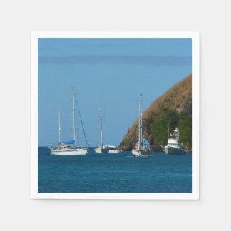 Guardanapo De Papel Veleiros no náutico branco e azul da baía
