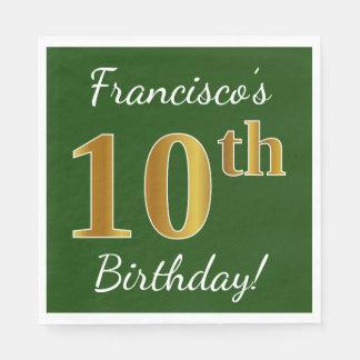 Guardanapo De Papel Verde, aniversário do ouro do falso 10o + Nome