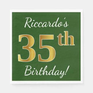 Guardanapo De Papel Verde, aniversário do ouro do falso 35o + Nome