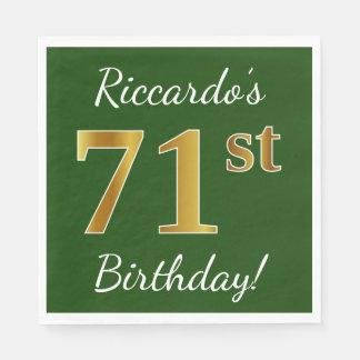 Guardanapo De Papel Verde, aniversário do ouro do falso 71st + Nome