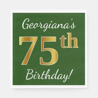 Guardanapo De Papel Verde, aniversário do ouro do falso 75th + Nome