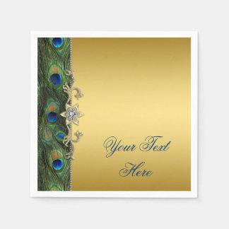 Guardanapo De Papel Verde de azuis marinhos elegante e pavão do ouro