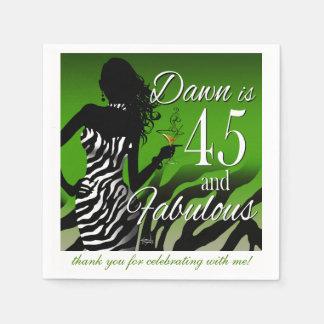 Guardanapo De Papel Verde do aniversário | da zebra 45th da notícia