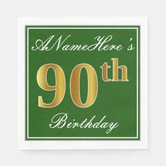 Guardanapo De Papel Verde elegante, aniversário do 90 do ouro do falso