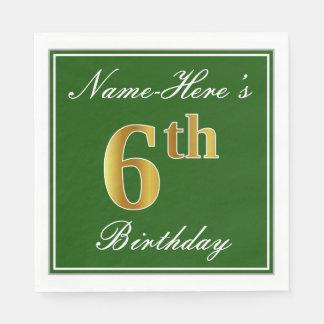 Guardanapo De Papel Verde elegante, aniversário do ouro do falso 6o;