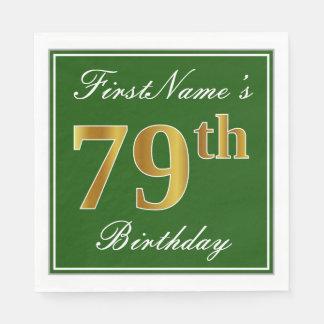 Guardanapo De Papel Verde elegante, aniversário do ouro do falso 79.o