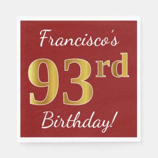 Guardanapo De Papel Vermelho, aniversário do ouro do falso 93rd + Nome