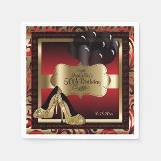 Guardanapo De Papel Vermelho e ouro metálicos - 50th texto do