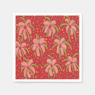 Guardanapo de papel vermelhos tropicais de flores