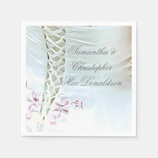 Guardanapo De Papel Vestido de casamento branco e cor-de-rosa