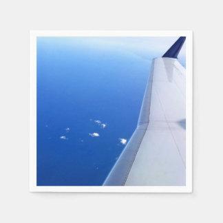 Guardanapo De Papel Vôo da asa do avião na foto do céu