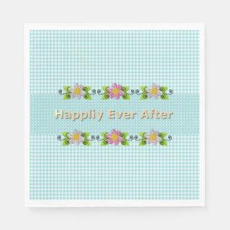 Guardanapo De Papel Wedding_Anniversary_Floral_Fairy-tale_Blue-Gingham