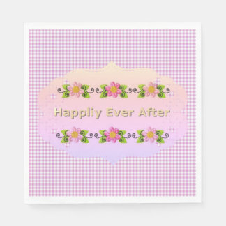 Guardanapo De Papel Wedding_Anniversary_Floral_Fairy-tale_Pink-Gingham