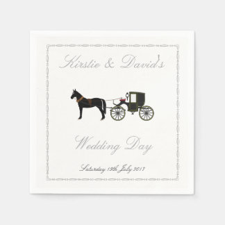 Guardanapo de papel Wedding com cavalo & carruagem