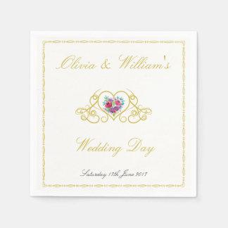 Guardanapo de papel Wedding com os corações & as
