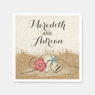 Guardanapo De Papel Wedding do hibiscus & dos escudos do Sandy Beach