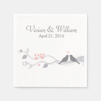 Guardanapo de papel Wedding personalizado pássaros