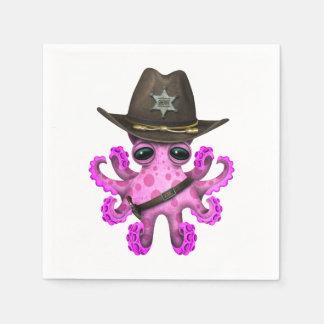 Guardanapo De Papel Xerife cor-de-rosa bonito do polvo do bebê