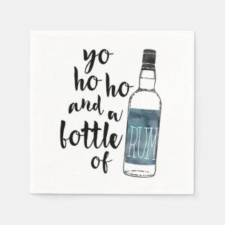 Guardanapo De Papel Yo Ho Ho e uma garrafa do pirata do rum