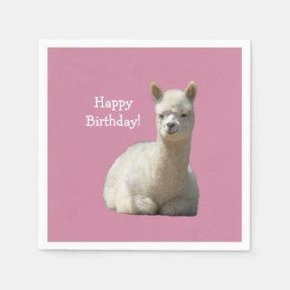 Guardanapo do aniversário da alpaca