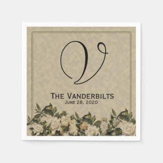 Guardanapo do casamento do Gardenia do vintage