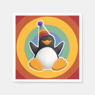 Guardanapo do círculo do arco-íris do pinguim do
