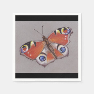Guardanapo do cocktail da borboleta de pavão/borda