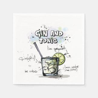 Guardanapo do cocktail da receita da bebida da gim