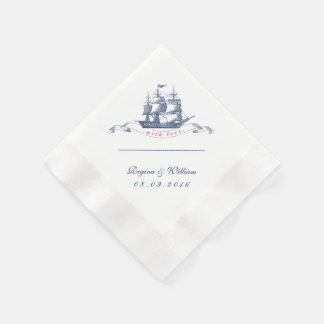Guardanapo do cocktail dos azuis marinhos e do