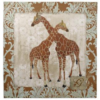 Guardanapo do monograma dos girafas