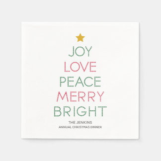 Guardanapo do Natal da tipografia da árvore de