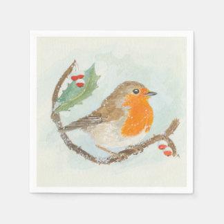 Guardanapo do Natal - pisco de peito vermelho