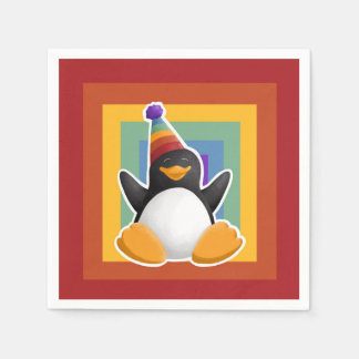 Guardanapo do quadrado do arco-íris do pinguim do