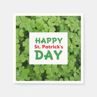 Guardanapo do trevo do dia de St Patrick feliz