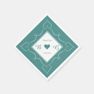 Guardanapo elegantes do coração do casamento do