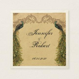 Guardanapo fino do casamento do pavão elegante do