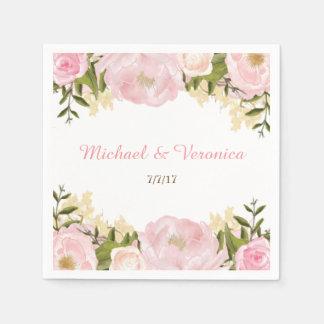 Guardanapo florais cor-de-rosa