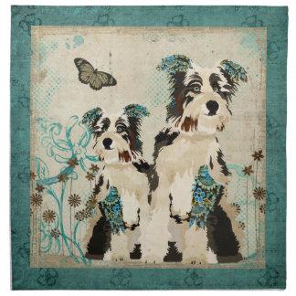 Guardanapo floral azul dos cães do vintage