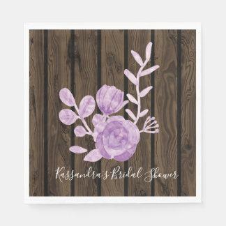 Guardanapo floral de madeira escuro rústico do chá