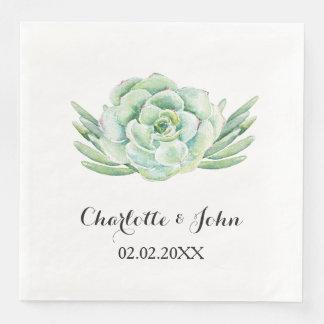 guardanapo floral do casamento do succulent da